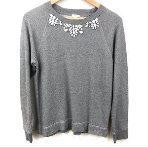 J Crew Grey Embellished Neckline Sweatshirt S